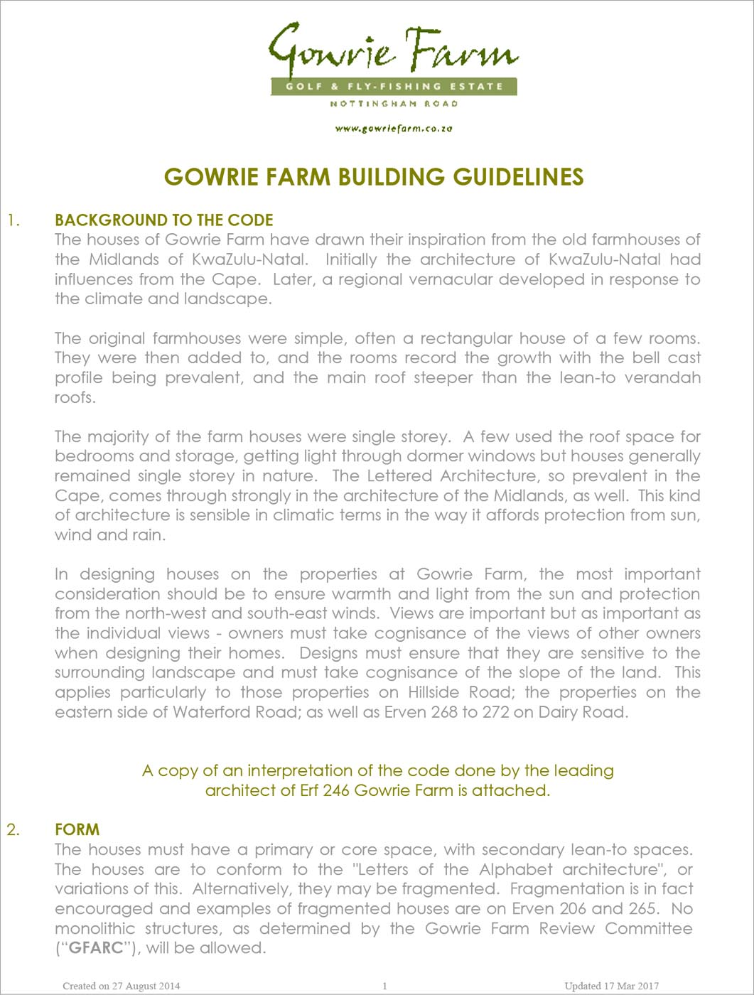 BUILDING GUIDELINES FOR GOWRIE FARM